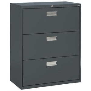 "Sandusky Lee LF6A363-02 600 Series 3 Drawer Lateral File Cabinet, 19.25"" Depth x 40.875"" Height x 36"" Width, Charcoal"