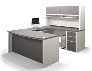 U-Shaped Desk with Assembled Pedestal and Hutch
