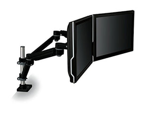 "3M Easy Adjust Desk Mount Dual Monitor Arm, Adjust Height, Tilt, Swivel and Rotate by Holding and Moving Monitor, Free Up Desk Space, Clamp or Grommet, For Monitors to 20 lbs <= 27"", Black (MA260MB)"