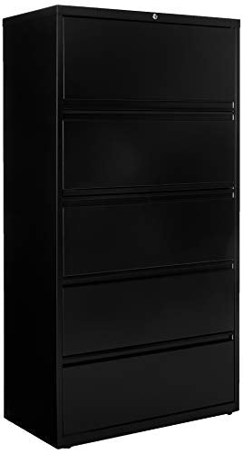 Lorell 5-Drawer 36 x 18.6 x 67.7 inch Telescoping Suspension Lateral File, Black