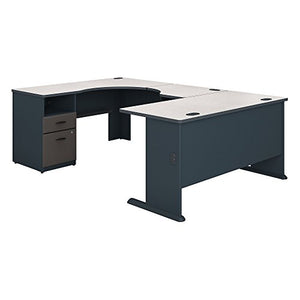 Bush Business Furniture Series A 60W x 93D U Shaped Desk with 2 Drawer Pedestal in Slate and White Spectrum
