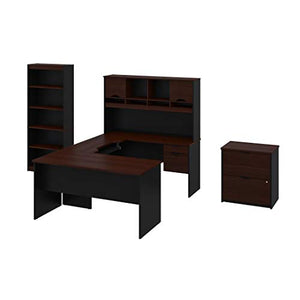 Bestar 3-Piece Set Including a U-Shaped Desk with Hutch, a lateral File Cabinet, and a Bookcase