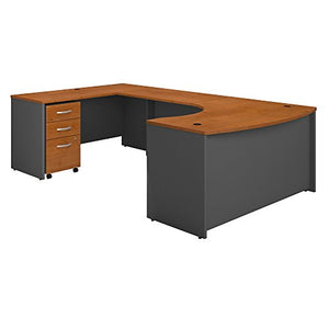 Bush Business Furniture Series C 60W Left Handed Bow Front U Shaped Desk with Mobile File Cabinet in Natural Cherry