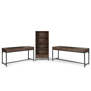 Simpli Home AXCBAN-09 Banting Solid Hardwood Modern Industrial 60 inch Wide Desk in Walnut Brown