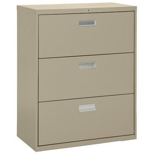 "Sandusky Lee LF6A363-04 600 Series 3 Drawer Lateral File Cabinet, 19.25"" Depth x 40.875"" Height x 36"" Width, Tropic Sand"
