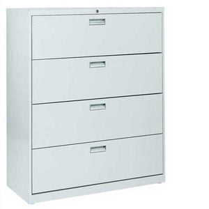"Sandusky Lee LF6A424-05 600 Series 4 Drawer Lateral File Cabinet, 19.25"" Depth x 53.25"" Height x 42"" Width, Dove Gray"