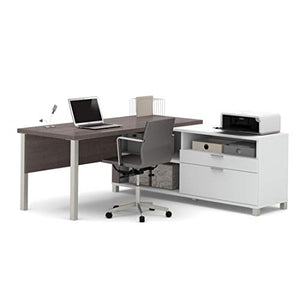 Bestar Pro-Linea L-Desk with Drawers, White/Bark Grey