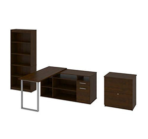 3-Piece Set Including a L-Shaped Desk, a lateral File Cabinet, and a Bookcase