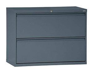 "Sandusky Lee LF8F302-02 800 Series 2 Drawer Lateral File Cabinet, 19.25"" Depth x 28.375"" Height x 30"" Width, Charcoal"