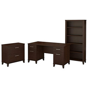 Bush Furniture Somerset 60W Office Desk with Lateral File Cabinet and 5 Shelf Bookcase in Mocha Cherry