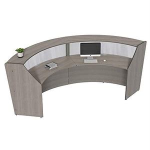 Linea Italia Curved Reception Desk, Double Unit, Clear Panel, Ash Laminate, Modern Office Lobby, Perfect for Small Spaces, Receptionist, Secretary