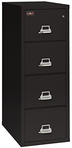 "FireKing Fireproof 2 Hour Rated Vertical File Cabinet (4 Legal Sized Drawers, Impact Resistant, Waterproof), 57"" H x 21.31"" W x 32.06"" D, Black"