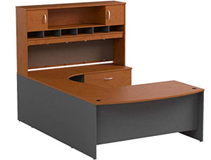 Bush Business Furniture Series C 72W Right Handed Bow Front U Shaped Desk with Hutch and Storage in Natural Cherry