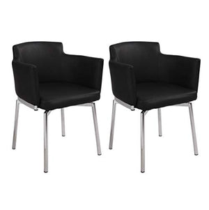 Milan Denise Club Style Swivel Arm Chair (Set of 2), Black