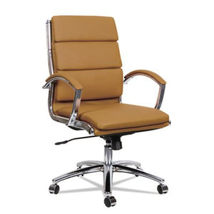 Alera ALENR4259 Neratoli Mid-Back Slim Profile Chair, Camel Soft Leather, Chrome Frame