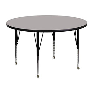 48'' Round Activity Table with 1.25'' Thick High Pressure Grey Laminate Top and Height Adjustable Pre-School Legs [XU-A48-RND-GY-H-P-GG]