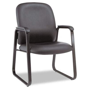 Alera ALEGE43LS10B Genaro Series Guest Chair, Black Leather, Sled Base