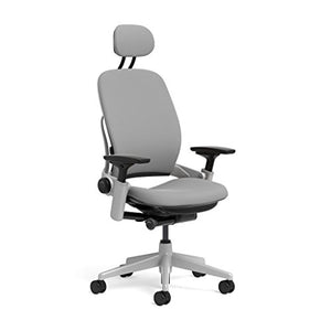 Steelcase Leap Task Chair: Platinum Base - 4D Adjustable Arms - Headrest - Hard Floor Casters