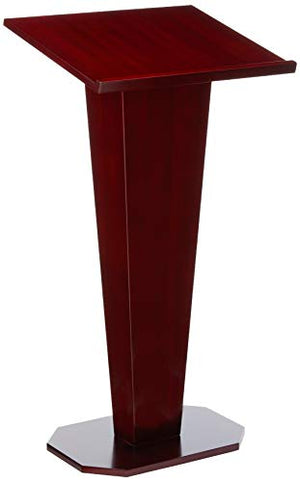 Displays2go Floor Podium with Wood Grain Style, V-Shape with Tilted Lectern Surface, Mahogany (LCTDIARM)