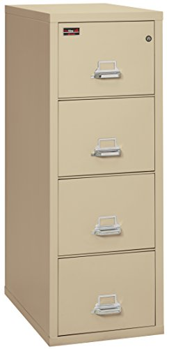 "FireKing Fireproof 2 Hour Rated Vertical File Cabinet (4 Letter Sized Drawers, Impact Resistant, Waterproof), 56.19"" H x 19"" W x 31.19"" D, Parchment"