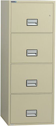 Phoenix Vertical 25 inch 4-Drawer Legal Fireproof File Cabinet with Water Seal - Putty