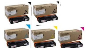 2 Blacks!,1 Cyan, 1 Yellow. 1 Magenta, High Yield OEM Ricoh SP C252DN Toner Set SP C252SF Toner Set Aficio Toner Set