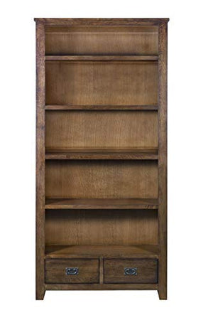 Mission Quarter Sawn Oak Bookcase with 2-Drawers & Open Shelves