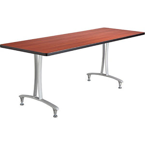 Safco Rumba T-Leg Rectangular Table with Glides — 72in. x 24in., Cherry/Silver, Model# 2097CYSL