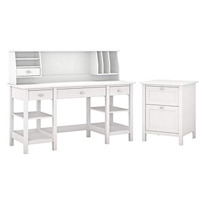 Bush Furniture Broadview 60W Desk with Storage Shelves, Small Hutch Organizer and File Cabinet in White