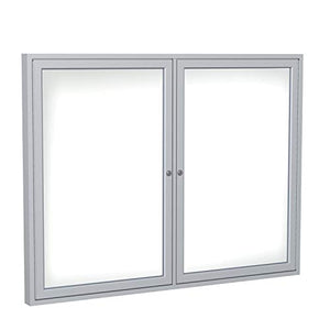 2 Door Enclosed Magnetic Whiteboard Size: 3' H x 4' W, Frame Finish: Satin