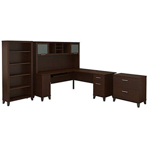 Bush Furniture Somerset 72W L Shaped Desk with Hutch, Lateral File Cabinet and Bookcase in Mocha Cherry