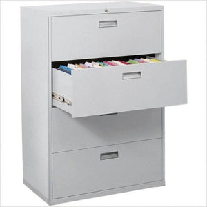"Sandusky Lee LF8F425-05 800 Series 5 Drawer Lateral File Cabinet, 19.25"" Depth x 66.375"" Height x 42"" Width, Dove Gray"
