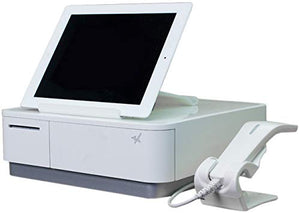 Star Micronics mPOP Integrated Receipt Printer & Cash Drawer with Tablet Stand and USB Barcode Scanner - White