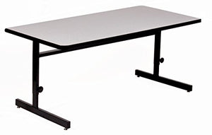 "Correll 30""x72"" Adjustable Height Training & Computer Tables, Gray Granite High Pressure Laminate, Computer Work Station (CSA3072-15)"