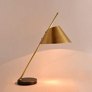 Kitzen Touch Type Desk Lamp Bedroom Study Model Room Night Light Postmodern Style All Copper Art Simple Fashionable Desk Lamp