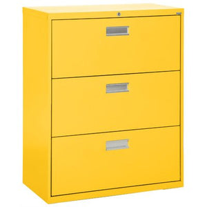 "Sandusky Lee LF6A363-EY 600 Series 3 Drawer Lateral File Cabinet, 19.25"" Depth x 40.875"" Height x 36"" Width, Yellow"