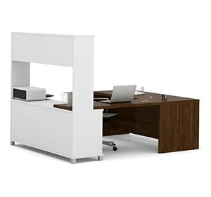 Bestar Pro-Linea U-Desk with Hutch, White/Oak Barrel