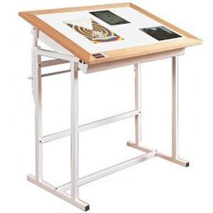 Oak Trimed Adjustable Steel Light Table - Alva-Trace (36 in. L x 48 in. W)