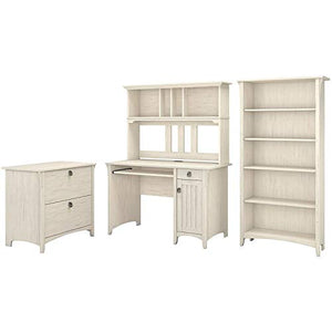 Bush Furniture Salinas Mission Desk with Hutch, Lateral File Cabinet and 5 Shelf Bookcase in Antique White