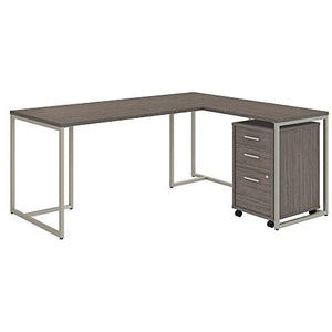 Office by kathy ireland Method 72W L Shaped Desk with 30W Return and Mobile File Cabinet in Cocoa
