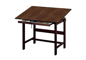 "Titan Solid Oak Drafting Table - Walnut Finish, 48"" X 36"" Walnut Finish Dimensions: 48""W X 36""D X 37""H Weight: 90 Lbs"