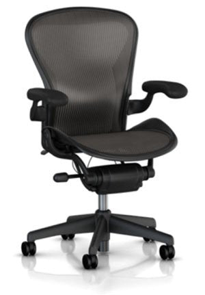 Herman Miller Classic Aeron Task Chair: Tilt Limiter w/Seat Angle Adj - PostureFit Support - Fixed Vinyl Arms - Standard Carpet Casters