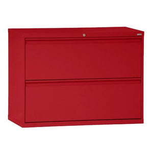 "Sandusky Lee LF8F422-01 800 Series 2 Drawer Lateral File Cabinet, 19.25"" Depth x 28.375"" Height x 42"" Width, Red"
