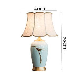 YD Modern Chinese Ceramic Hand-painted Art Table Lamp, Hotel Study Living Room Decorative Table Lamp, Copper Base, E27 Light Source (not Included) 3 Sizes Optional /&