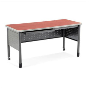 "OFM Mesa Series Training Table - Durable Mobile Utility Desk with Drawers, Cherry, 27.75"" x 55.25"" (66140-CHY)"