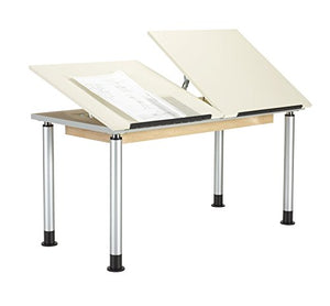 "Diversified Woodcrafts ALTD2-6030 Adjustable Leg Drafting Table, Double Station, 28-42"" Height, 30"" Width, 60"" Length, Silver/Almond"