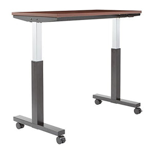 OSP Furniture PHAT2448M3 Pneumatic Height Adjustable Table, Mahogany Top with Black Base
