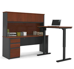 Bestar Prestige + L-Desk with Hutch Including Electric Height Adjustable Table, Bordeaux/Graphite