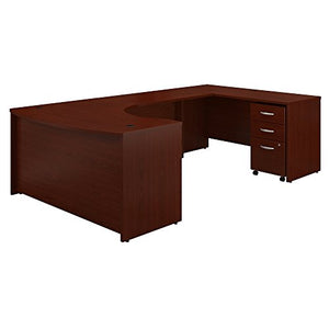 Bush Business Furniture Series C 60W Right Handed Bow Front U Shaped Desk with Mobile File Cabinet in Mahogany