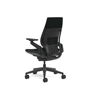 Steelcase Gesture Office Chair - Black Steelcase Leather, Medium Seat Height, Wrapped Back, Dark on Dark Frame, Lumbar Support